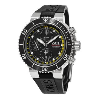 Oris Men's 774 7708 4154 RS 'Aquis' Black Dial Black Rubber Strap Depth Gauge Chronograph Swiss Automatic Watch
