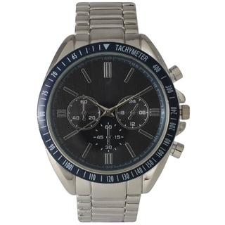 Olivia Pratt Men's Polished Metal Decorative Chronograph and Tachymeter Watch