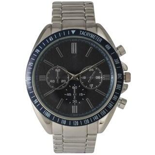 Olivia Pratt Men's Polished Metal Decorative Chronograph and Tachymeter Watch