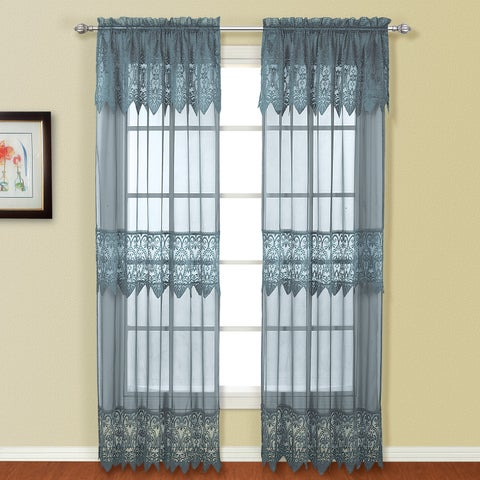 Luxury Collection Valerie Macrame and Sheer Voile Curtain Panel Pair with Valances - 104 x 84
