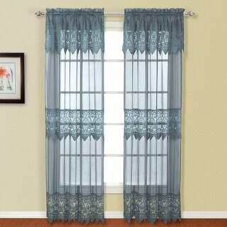 Luxury Collection Valerie Macrame and Sheer Voile Curtain Panel Pair with Valances