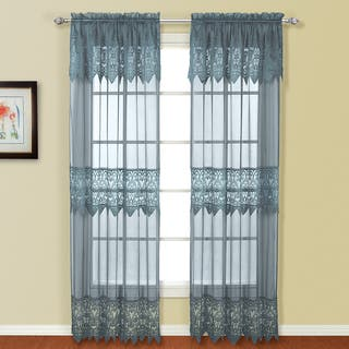 Luxury Collection Valerie Macrame and Sheer Voile Curtain Panel Pair with Valances - 104 x 84|https://ak1.ostkcdn.com/images/products/11418856/P18381994.jpg?impolicy=medium