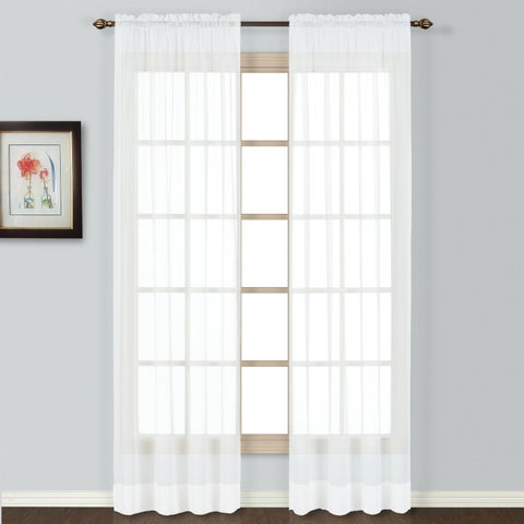 Neutral Semi-sheer Batiste Woven Single Curtain Panel