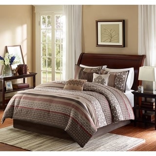Madison Park Dartmouth Brown/ Red Comforter Set