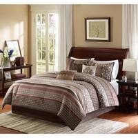 Madison Park Dartmouth Brown/ Red Comforter Set