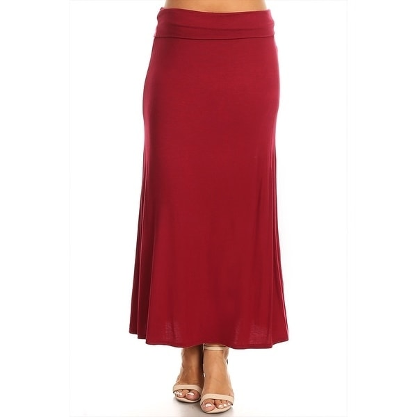 MOA Women's Plus Size Solid Maxi Skirt (Burgundy - XL), Red