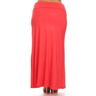 MOA Collection Women's Plus Size Solid Maxi Skirt