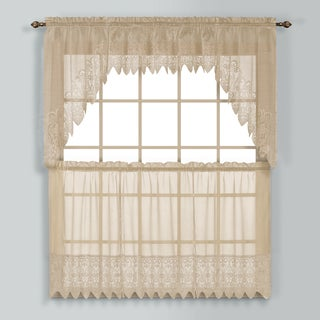 Valerie Macrame and Sheer Voile Kitchen Tiers and Toppers (3 options available)