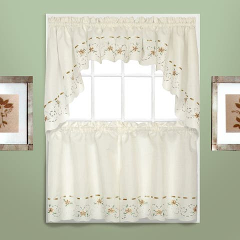 Luxury Collection Rachael Embroidered Florals with Ribbon Kitchen Tiers or Toppers
