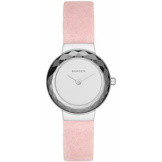 Skagen Women's SKW2425 Leonora White Dial Pink Leather Watch