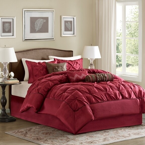 Madison Park Lafayette Tufted Red 7 Piece Comforter Set