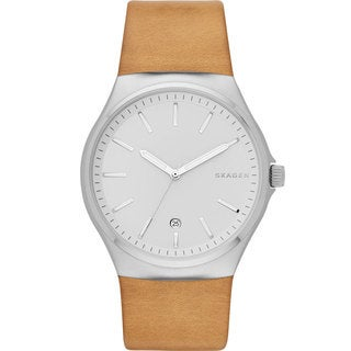 Skagen Men's SKW6261 Sundby Analog Silver Dial Beige Leather Watch
