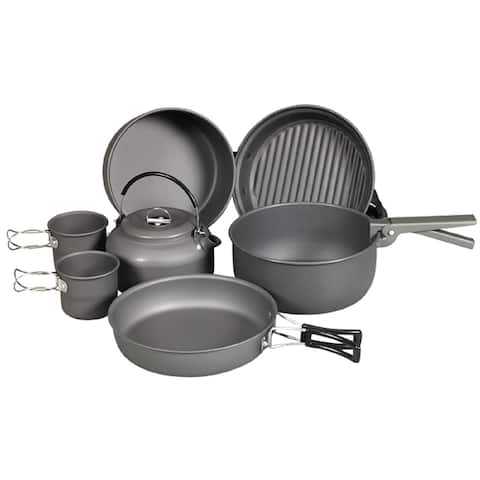 NDuR 9 Piece Cookware Mess Kit with Kettle
