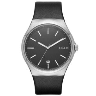 Skagen Men's SKW6260 Sundby Analog Black Dial Black Leather Watch