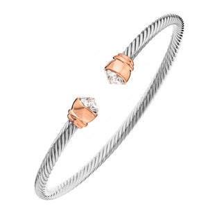 Isla Simone - Rhodium and Rose Gold Plated Corrugated Flex Bangle with Clear Pointed Austrian Crystal Cryst