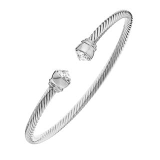 Isla Simone - Rhodium Plated Corrugated Flex Bangle with Clear Arrowhead Austrian Crystal Stone