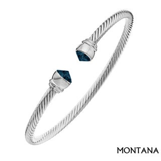 Isla Simone - Rhodium Plated Corrugated Flex Bangle with Montana Arrowhead Austrian Crystal Stone
