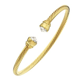 Isla Simone - 14 Karat Gold Plated Corrugated Flex Bangle with Clear Arrowhead Austrian Crystal Stone