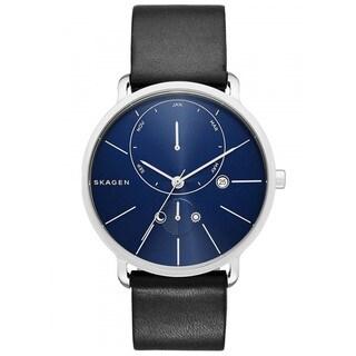 Skagen Men's SKW6241 Hagen Multi-Function Blue Dial Black Leather Watch