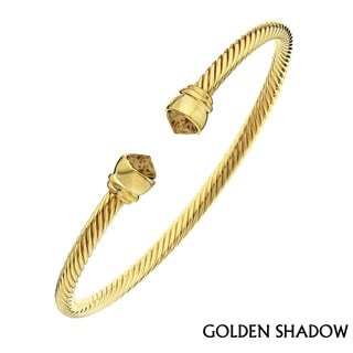 Isla Simone Women's 14 Karat Gold Corrugated Flex Bangle, Golden Shadow Arrowhead Bracelet