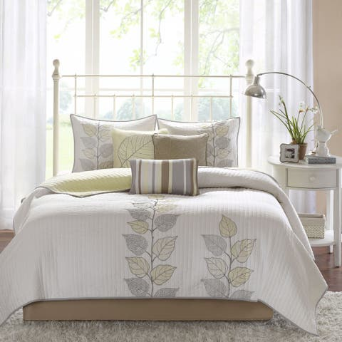 Madison Park Jocelyn Yellow Channel Quilted Coverlet Set