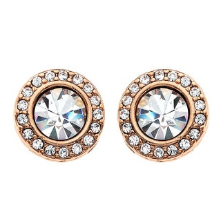 Isla Simone - 14 Karat Rose Gold Plated 6mm Crystal Stud Earring with Gallery of Corrugated Crystals