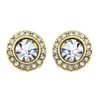 Isla Simone - 14 Karat Gold Plated 6mm Crystal Stud Earring with Gallery of Corrugated Crystals