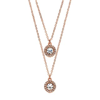 Isla Simone 14k Rose Gold Plated Drop Necklace with Two 6mm Crystal Medallions Studded With Gallery Of Crystals