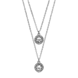 Isla Simone - Rhodium Plated Drop Necklace With Two 6mm Crystal Medallions Studded With Gallery Of Crystals