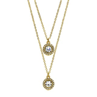 Isla Simone - 14 Karat Gold Plated Drop Necklace With Two 6mm Crystal Medallions Studded With Gallery Of Crystals