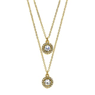 Isla Simone - Gold-Plated Drop Necklace With Two 6Mm Crystal Medallions Studded With Galler
