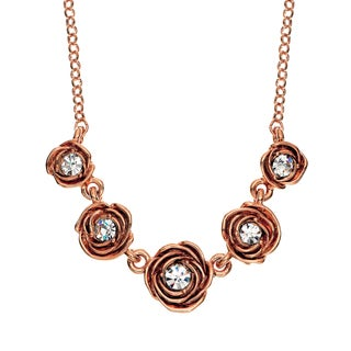 Isla Simone - 14 Karat Rose Gold Plated Five Station Crystal Rose Necklace
