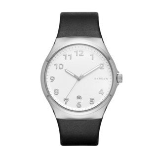 Skagen Men's SKW6268 Sundby Analog White Dial Black Leather Watch