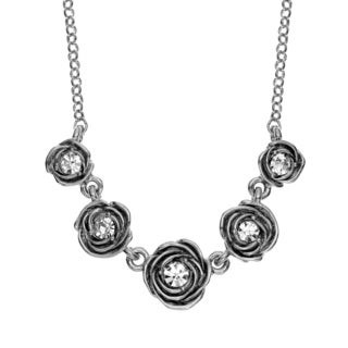 Isla Simone - Rhodium Plated Five Station Crystal Rose Necklace