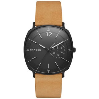 Skagen Men's SKW6257 Rungsted Analog Black Dial Brown Leather Watch