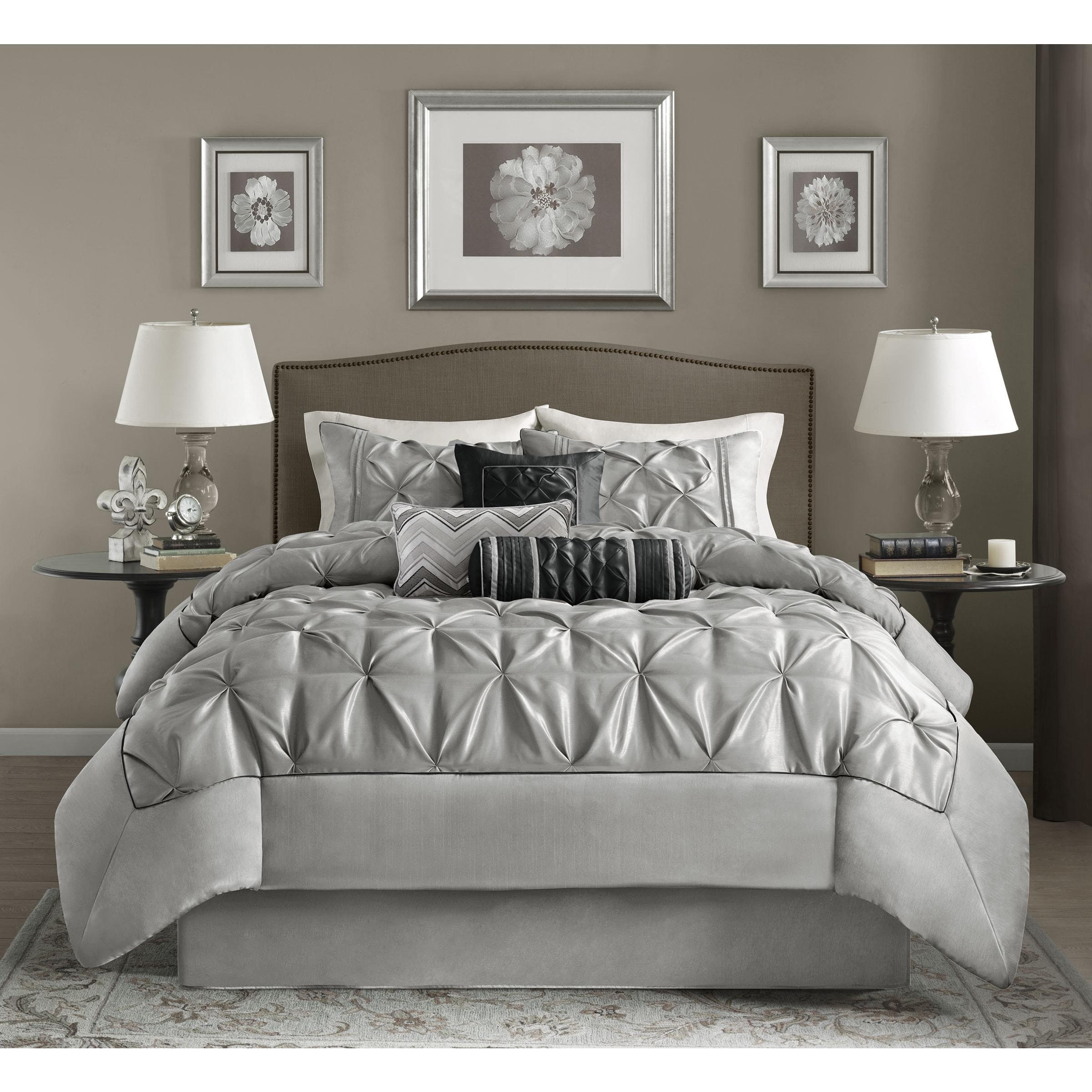 amazon elle bed bedding microfiber dp queen full pinstripe comforter down home com kitchen overstock