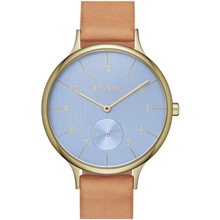 Skagen Women's SKW2407 Anita Analog Blue Dial Beige Leather Watch