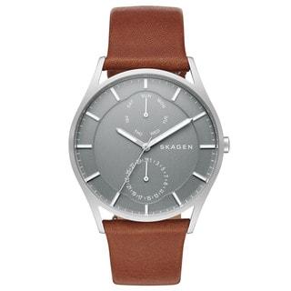 Skagen Men's SKW6264 Holst Multi-Function Grey Dial Brown Leather Watch