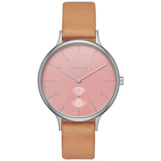 Skagen Women's SKW2406 Anita Analog Pink Dial Beige Leather Watch