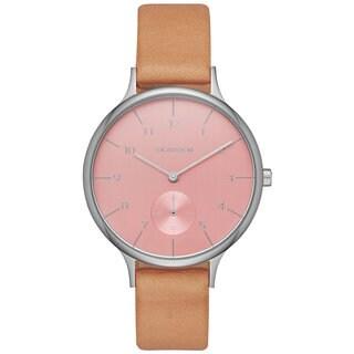 Skagen Women's SKW2406 Anita Analog Pink Dial Beige Leather Watch