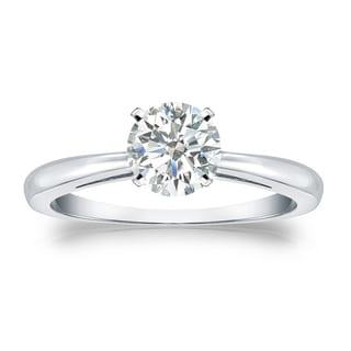 Auriya 18k Gold 3/4ct TDW Round Diamond Solitaire Engagement Ring