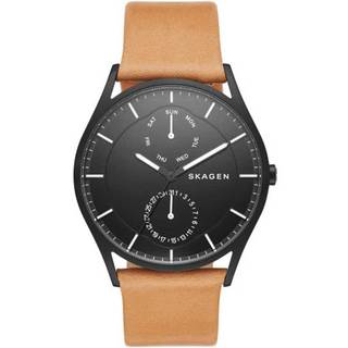 Skagen Men's SKW6265 Holst Multi-Function Black Dial Beige Leather Watch