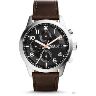 Fossil Men's FS5139 Daily Chronograph Black Dial Brown Leather Watch