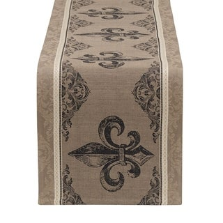 Fleur De Lis Stripe Jacquard Table Runner