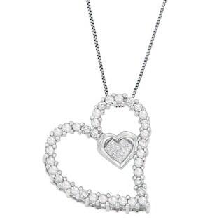 14k White Gold 1/2ct TDW Round and Princess Heart Diamond Pendant Necklace (H-I, I1-I2)