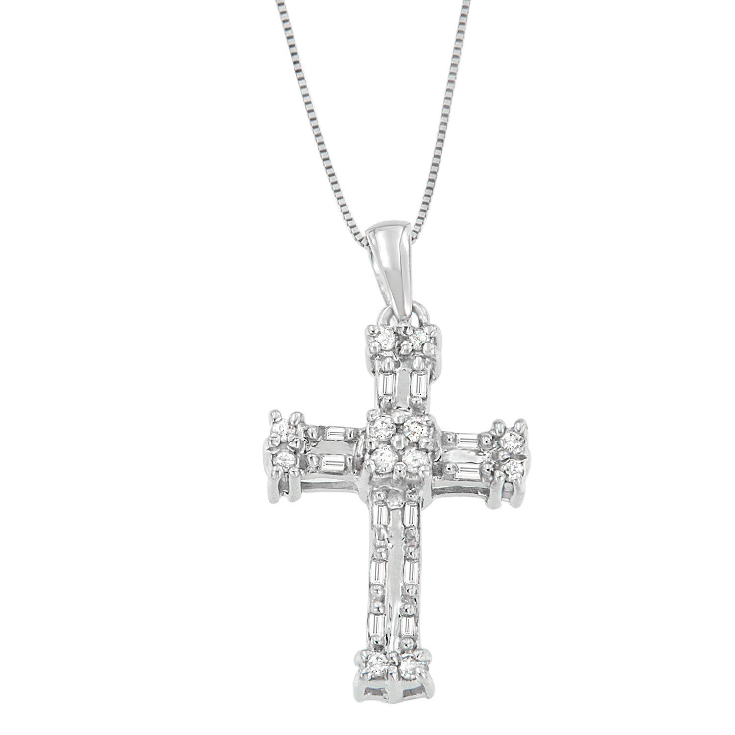 14k White Gold 1/5ct TDW Round and Baguette Cross Diamond...
