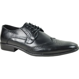 BRAVO Men Dress Shoe KING-2 Wingtip Oxford BLACK - Wide Width Available