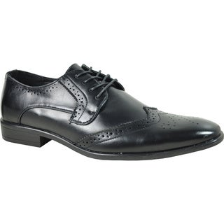 BRAVO Men Dress Shoe KING-2 Wingtip Oxford BLACK - Wide Width Available (More options available)