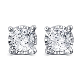 Divina 14k White Gold 1 1/2ct TDW Diamond Miracle Plate Stud Earrings