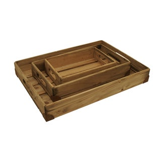 Weathered Rectangle Pine Box Trays with Rusted Metal Accents (Set of 3)